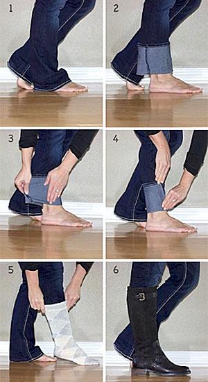 Πώς να κρατήσετε το φαρδύ τζιν σας σταθερό μέσα από τις μπότες.