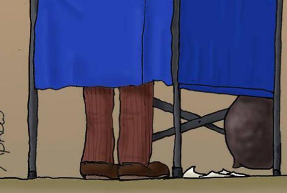 Ο Αρκάς αποτυπώνει την απορία ενός ψηφοφόρου, μέσα στο παραβάν
