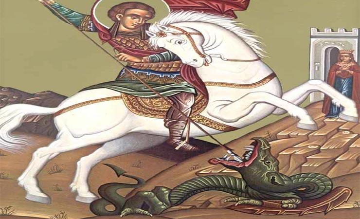 Ο Άγιος Γεώργιος γλιτώνει την κόρη του βασιλιά από τον δράκοντα