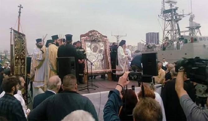 Η υποδοχή της Παναγίας Εκατονταπυλιανής στον Πειραιά, ΒΙΝΤΕΟ
