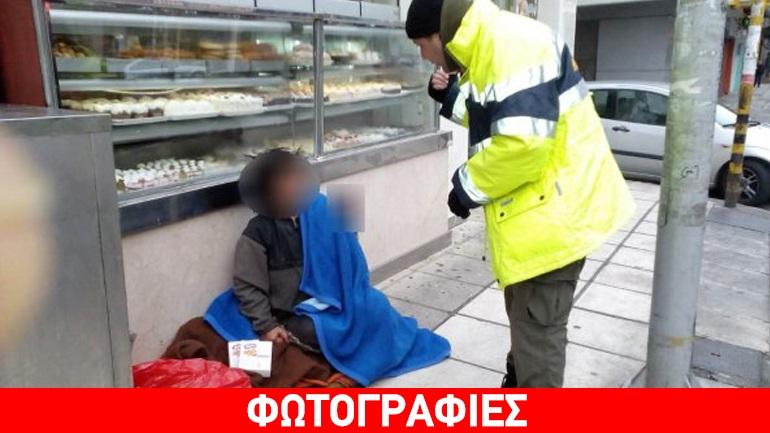 Ανήμερα των Θεοφανίων η Δημοτική Αστυνομία Θεσσαλονίκης μοίρασε κουβέρτες και άλλα απαραίτητα σε αστέγους