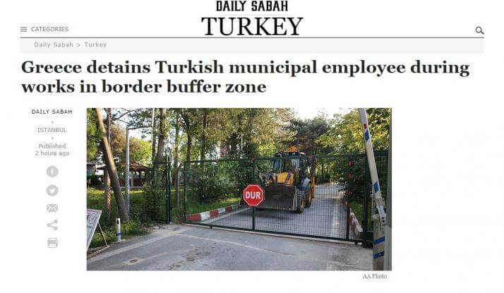 Τι λέει η τουρκική Sabah για τη σύλληψη του Τούρκου στον Έβρο – Αναφορά στους Έλληνες στρατιωτικούς