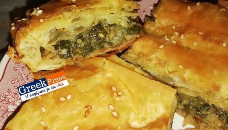 Παραδοσιακή χωριάτικη πίτα με σπανάκι και πράσα